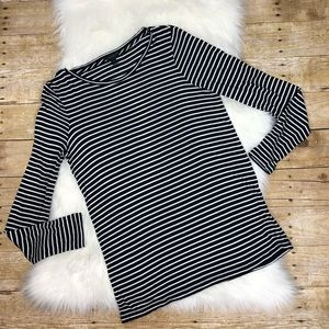 J. Crew small striped long sleeve black white top